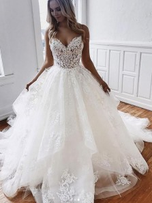 Gorgeous Ball Gown Sweetheart Spaghetti Straps Long Wedding Dresses with Appliques