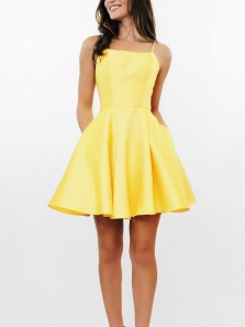 Simple A Line Cross Back Yellow Short Homecoming Dresses with Pockets, Short Prom Dresses Under 100