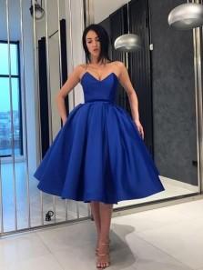 Ball Gown V Neck Royal Blue Strapless Knee Length Prom Dresses with Pockets, Elegant Homecoming Dresses
