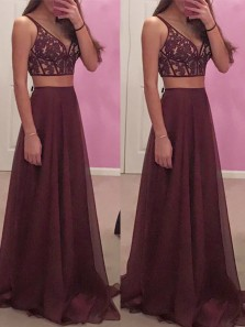 Modern A Line V Neck Two Piece Burgundy Chiffon Prom Dress with Applique ,Open Back Spaghetti Straps Long Evening Dress