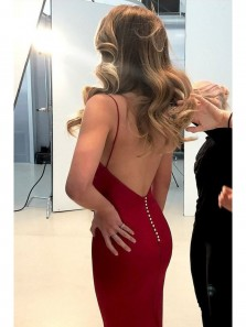 Discount Sexy Mermaid V-Neck Spaghetti Straps Dark Red Prom Dress, Charming Backless Long Evening Dress PD0627002