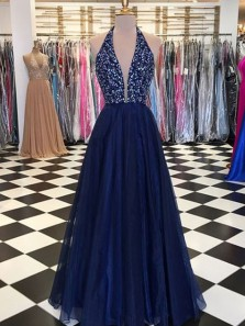 Charming V Neck Backless Navy Blue Tulle Formal Evening Dresses with Beading, Long Prom Dress, Formal Gown