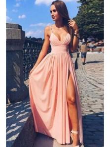 Cute Simple Spaghetti Strap V Neck Pink Chiffon Long Prom Dresses, Cheap Pretty Slit Formal Evening Dresses HD0627021
