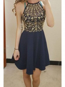 Cute A-line Navy Blue Homecoming Dresses with Beading, Halter Short Party Dress, Junior Homecoming Dress