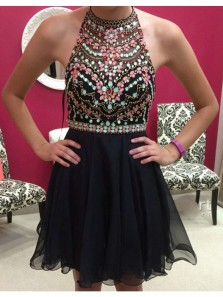 Cute A-line Beading Black Chiffon Short Prom Dress, Halter Open Back Short Homecoming Dress, Little Black Dress