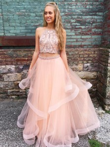 Gorgeous Two Piece Halter Open Back Pink Tulle Long Prom Dress, Beaded Custom Made Evening Dress