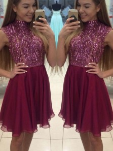 Cute Halter Open Back Burgundy Beading Short Homecoming Dress, Burgundy Chiffon Short Prom Dress