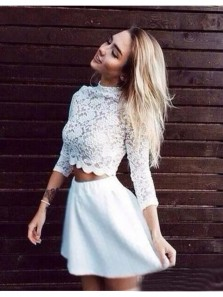 Sexy Two Piece High Neck Three Quarter Sleeves White Homecoming Dresses, Short Prom Dresses Under 100