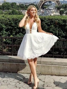 Cute A Line V Neck Open Back White Lace Homecoming Dress with Sequins