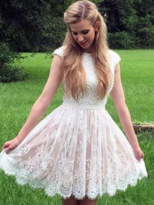 Pretty A-Line Scoop Open Back White Lace Homecoming Dress with Beading