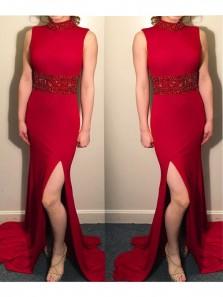 Charming Mermaid Slit Halter Open Back Red Prom Dress with Beading, Elegant Formal Long Evening Dress