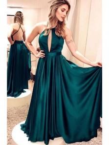 Charming A Line Open Back Deep V Neck Dark Green Long Homecoming Dress, Elegant Long Prom Dress / Evening Dress
