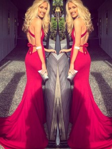 Sexy Mermaid V Neck Red Long Prom Dress with Cross Back, Charming Backless Evening Dress