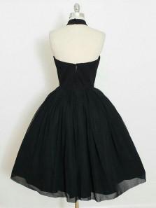 Charming A Line Halter Backless Black Chiffon Short Homecoming Dress, Little Black Dress Under 100 HD0630001