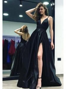 Sexy A Line V Neck Backless Slip Black Long Prom Dresses, Formal Evening Dresses PD0630001