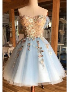 Gorgeous A Line Sweetheart Open Back Light Blue Tulle Short Homecoming Dresses, Short Prom Dresses, Princess Dresses HD1630001