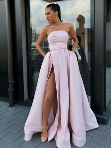 Elegant Ball Gown Grey Satin Split Long Prom Dresses with Pockets, Formal Evening Dresses PD1630001