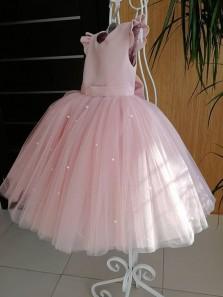 Cute A Line Round Neck Ruffled & Bow Pink Flower Girl Dresses with Beading
