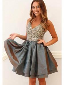 Cute A Line V Neck Spaghetti Straps Taffeta Dark Grey Short Dress, Short Homecoming Dress with Beading