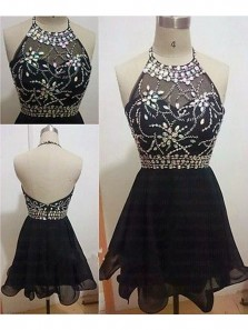 Cute A Line Halter Backless Black Short Dress with Beading, Short Chiffon Black Homecoming Dress, Little Black Dress