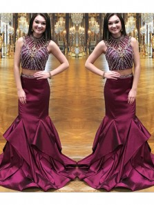 Charming Mermaid Two Piece High Neck Burgundy Prom Dress with Beading, Elegant Formal Evening Dress