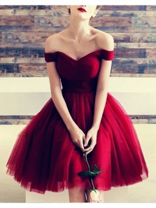 Charming A Line Off the Shoulder Wine Tulle Short Dress, Cute Short Homecoming Dress