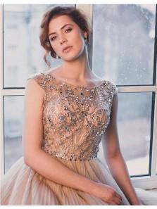 Elegant A Line Scoop Open Back Tulle Brush Short Homecoming Dress, Short Dress with Beading