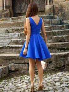 Simple A Line V Neck Open Back Royal Blue Short Dress, Cute Short Homecoming Dress Under 100 HD0711010