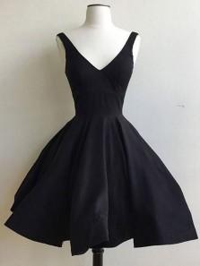 Elegant A Line V Neck Backless Satin Black Short Dress, Little Black Dress, Black short Homecoming Dress Under 100