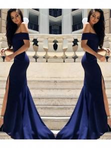 Chic Mermaid Off the Shoulder High Slit Navy Blue Prom Dresses, Long Formal Evening Dresses PD0711012