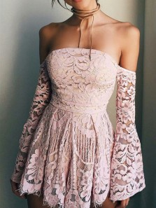 Simple and Cute A Line Sweetheart Long Sleeve Blush Pink Short Dress, Lace Homecoming Dress Under 100 HD0711011