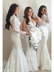 Charming Mermaid Halter Long Sleeve Lace White Long Bridesmaid Dress