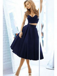 Cute A Line Two Piece V Neck Open Back Navy Short Dresses, Formal Short Dresses, Short Prom Dresses HD0710004