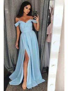 Charming A Line Slit Off the Shoulder Backless Light Blue Chiffon Prom Dress, Long Formal Evening Dress PD0714001