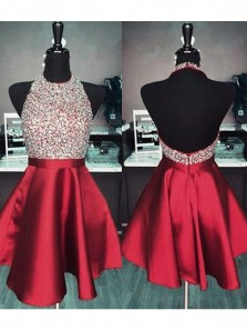 Cute A Line Halter Backless Beaded Red Satin Homecoming Dresses with Pockets, Short Prom Dresses HD074008