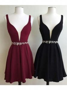 Cute A Line V Neck Open Back Chiffon Black Homecoming Dress with Beading, Little Black Dress, Short Prom Dress Under 100