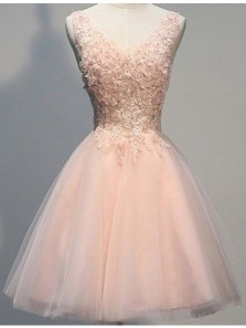 Cute A Line V Neck Backless Brush Pink Tulle Homecoming Dress, Short Prom Dress