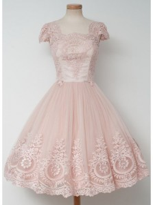 Elegant A Line Round Neck Open Back Tulle & Satin Pink Homecoming Dress with Applique ,Formal Short Prom Dress