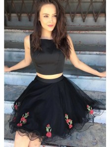 Cute A Line Two Piece Scoop Black Satin & Tulle Homecoming Dress with Applique, Short Prom Dress Under 100, Little Black Dress