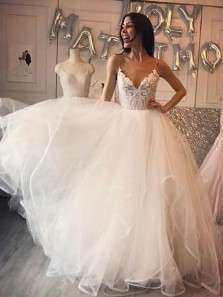 Gorgeous Ball Gown V Neck Spaghetti Straps Backless Ivory Lace Wedding Dress, Long Tulle Wedding Dress