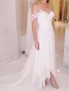 Gorgeous A Line Off the Shoulder White Chiffon Wedding Dress with Applique, Fairy Court Train Chiffon Beach Wedding Dress