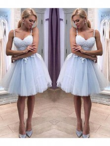 Cute A Line V Neck Spaghetti Straps Light Blue Tulle Homecoming Dress with Applique, Backless Sweetheart Short Party Dress, Sweet 16 Dress, Dress For Teens HD0702001
