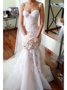 Gorgeous Mermaid Sweetheart Spaghetti Straps White and Pink Organza Wedding Dress with Lace