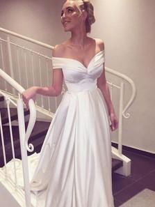 Gorgeous A Line Off the Shoulder Ivory Satin Wedding Dress, Vintage Wedding Dress