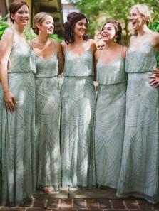 Elegant Column V Neck Spaghetti Straps Chiffon Long Bridesmaid Dress with Beading