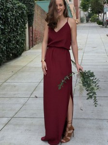 Elegant Column V Neck Spaghetti Straps Slit Burgundy Chiffon Bridesmaid Dress, Under 100 Bridesmaid Dress