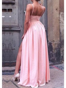 Simple V Neck Spaghetti Straps Backless Slit Pink Satin Prom Dress, Sexy Evening Dress Under 100