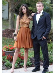 Unique A Line Round Neck Open Back Brown Chiffon Homecoming Dress with Beading, Fashion Short Prom Dress