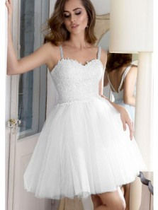Cute Sweetheart Spaghetti Straps White Short Homecoming Dress, Applique Homecoming Dress