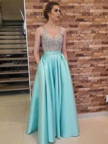 Elegant A Line V Neck Light Blue Satin Prom Dress with Beading, Formal Evening Dress Custom Made